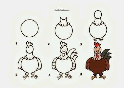 Cara menggambar hewan ayam