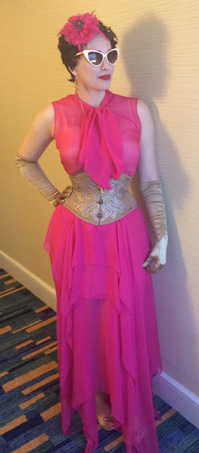 Gail Carriger in Retro 1930s Hot Pink Dress and Gold