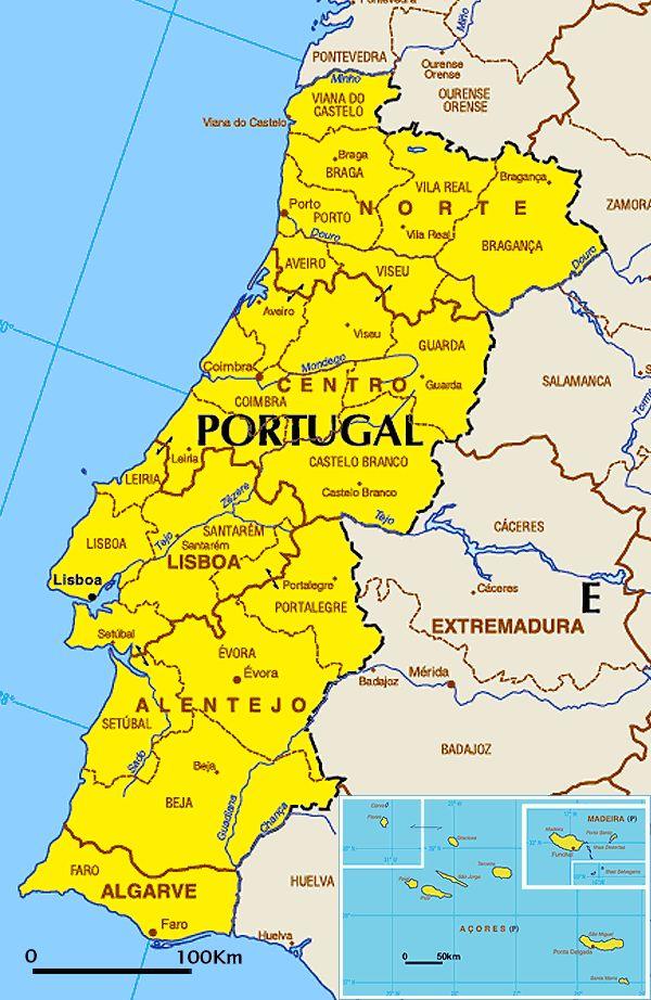 landkarte portugal Politische Landkarte von Portugal (in Landessprache) | Weltatlas landkarte portugal