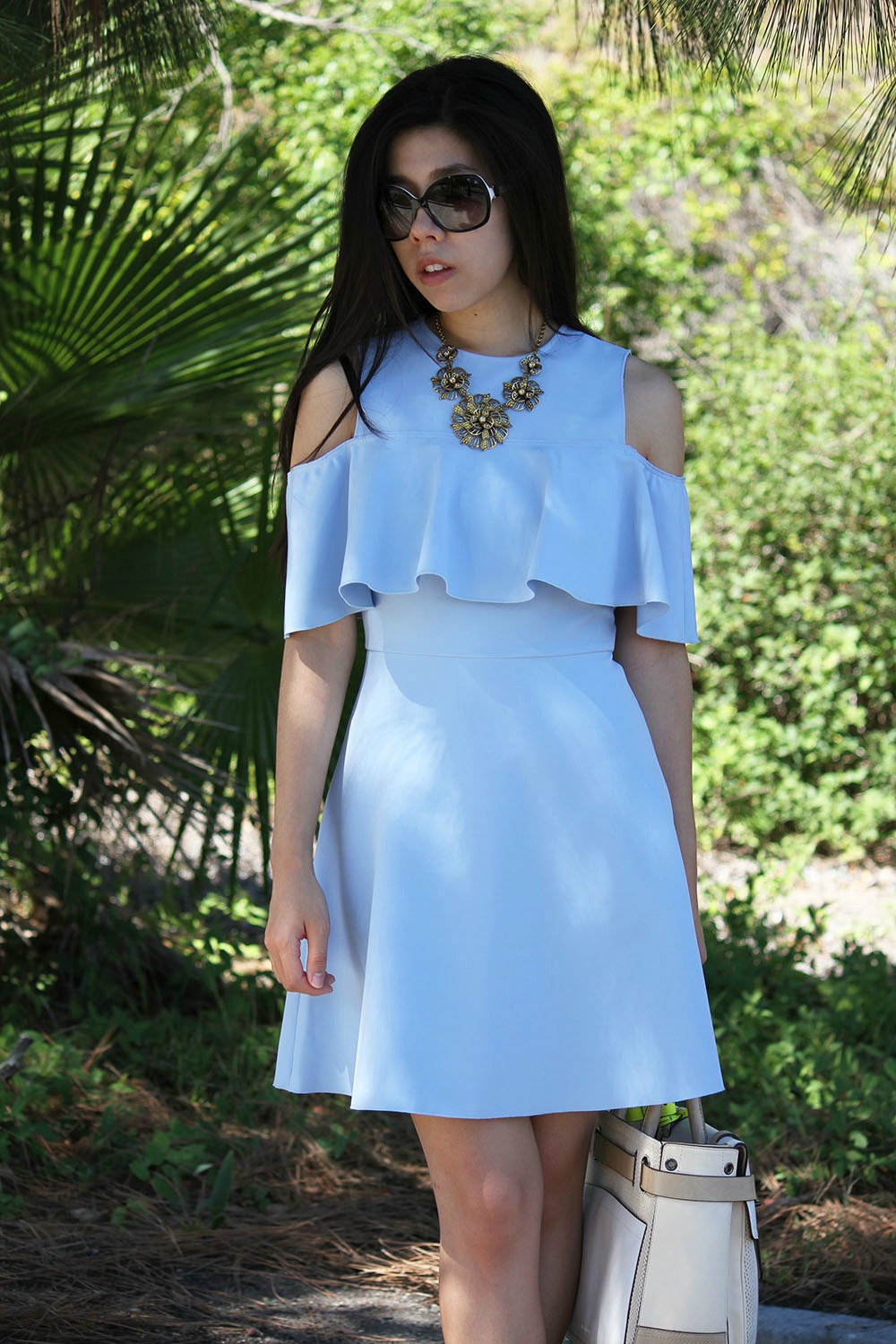 OOTD_Blue Ruffle Dress_ Under the White Coat _ Pharmacist _ Adrienne Nguyen
