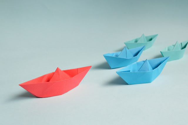 Origami boats, different colors