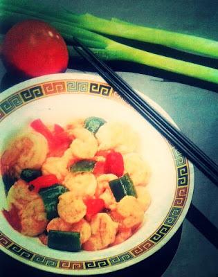 Resep masakan sederhan segari-hari udang dengan cabe merah dan hijau