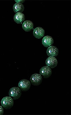 Imperial jade ball chain in a Yangon shop
