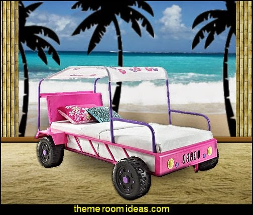 Girls Buggy Twin Bed  beach theme bedrooms - surfer girls - surfer boys - coastal living style - surfing themed bedroom decorating ideas - beach bedrooms - raffia valance window ideas - 3d wall decorations