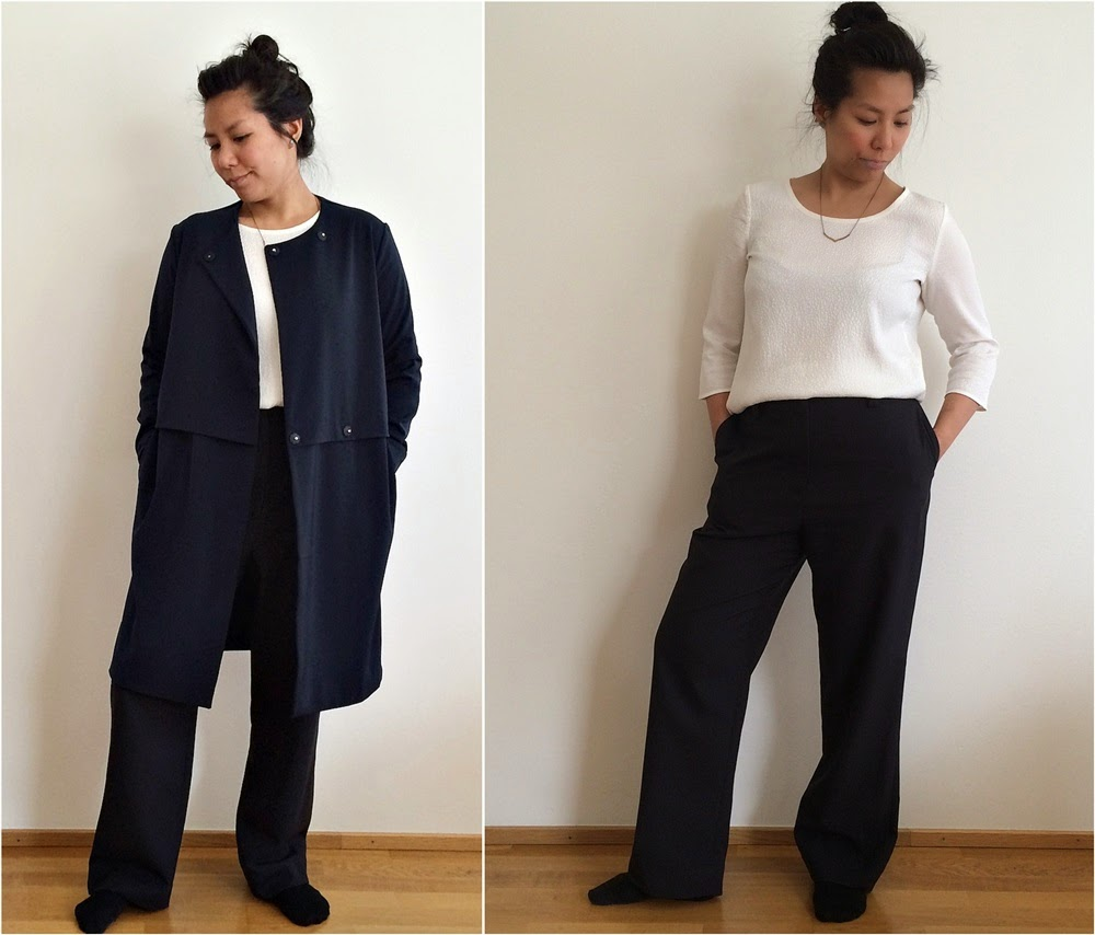 Tunic from Esprit, dress pants from ACNE Studios and trench coat from Samsoe Samsoe