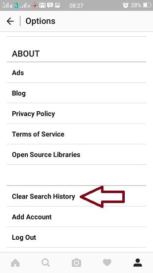 cara membersihkan riwayat pencarian Instagram pada android
