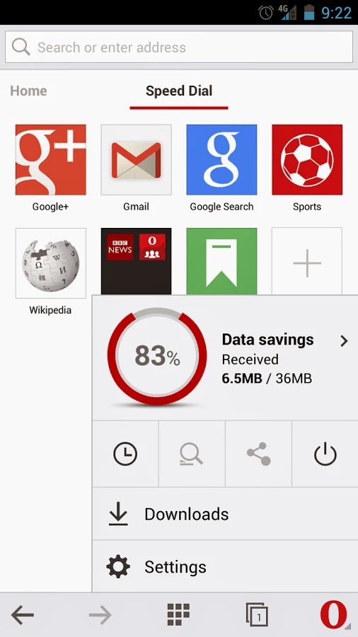Opera Mini Data Usage