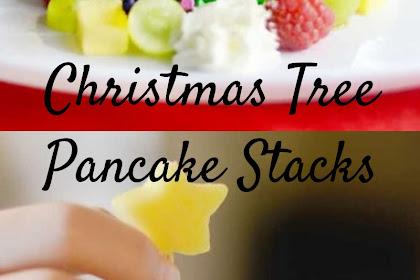 Christmas Tree Pancake Stacks #christmas  #cake