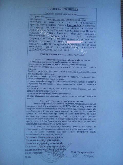 НАБУ хоче повторно обирати запобіжний захід судді Денисюк, яку суд не визнав підозрюваною
