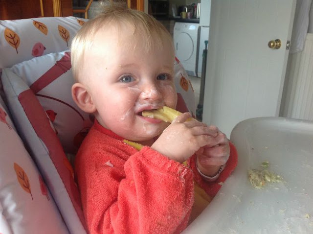 Baby-led-weaning-baby-in-highchair-eating-chip-with-face-covered-in-yoghurt