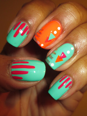 April Tri Polish Challenge, Day 4, Color Club, Edie, Jackie OH!, Koo-Koo CaChoo, stripes, triangles, neon, bright, tribal, pink, orange, turquoise, nails, nail art, nail design, mani