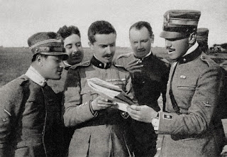 Ferruccio Ranza, second left, with other member of the 91st Squadron, including Francesco Barraca (far right)