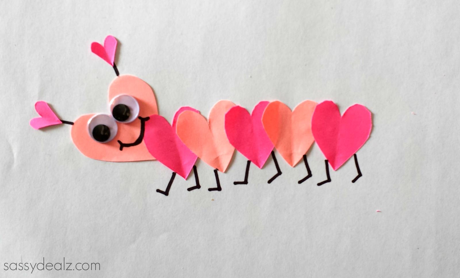 Valentine S Day Heart Caterpillar Craft For Kids