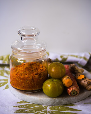 raw turmeric, ginger and amla pickle