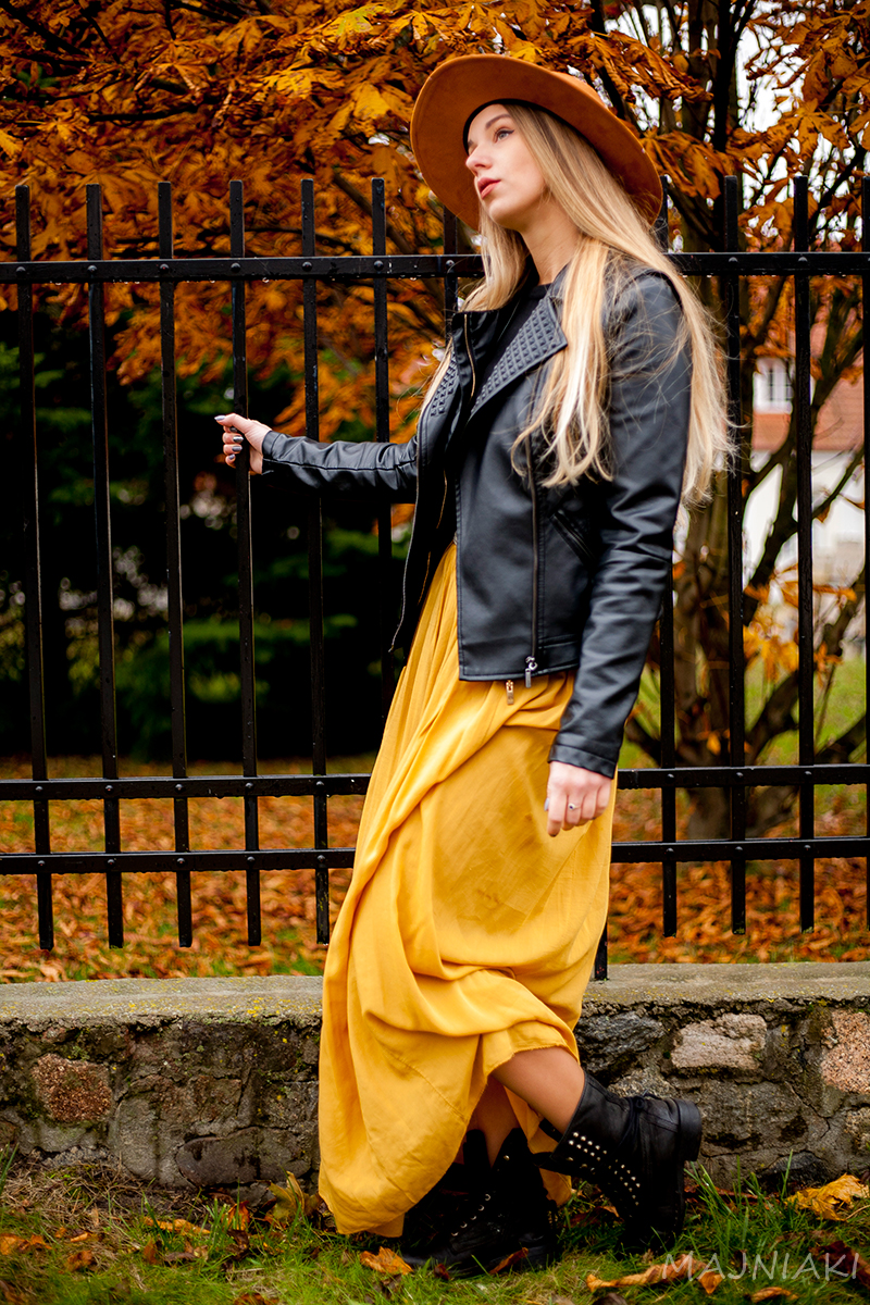 Leather and light maxi in colors of fall