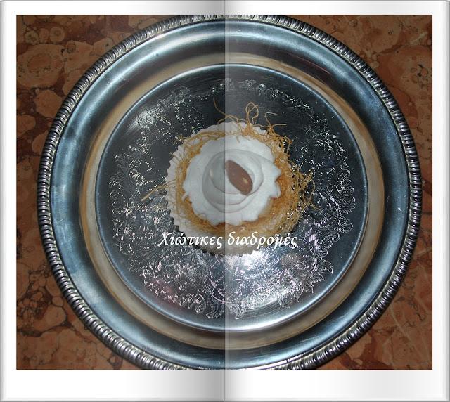 μίνι - ατομικά εκμεμ με καταίφι σιροπιασμένο, κρέμα και αμύγδαλα, γλυκο για κερασμα