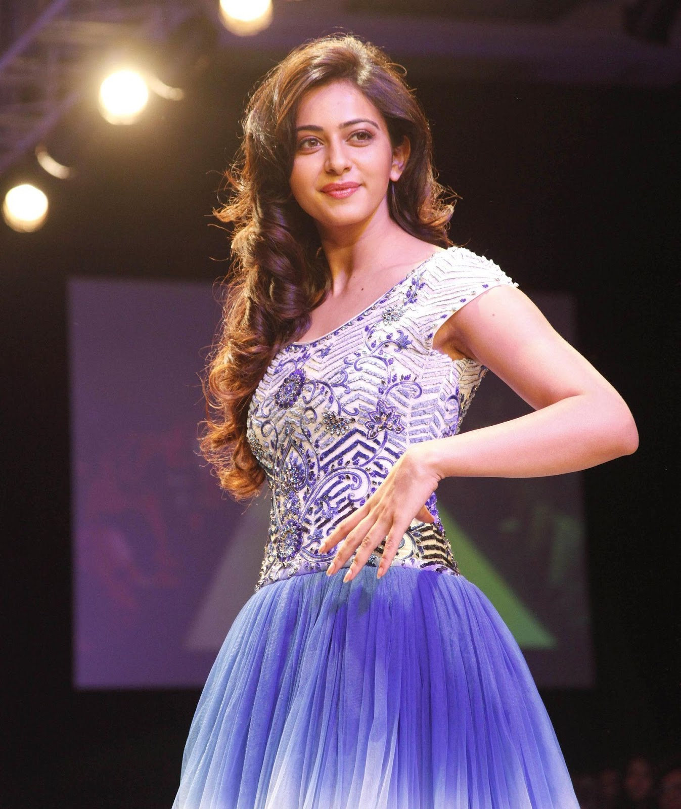 Tollywood Princes Rakul Preet Singh Photos In Blue Dress At Lakme Fashion Week