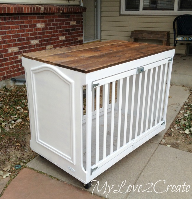 Crib turned Dog Crate