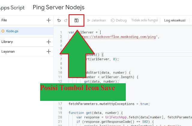 posisi tombol icon save google script