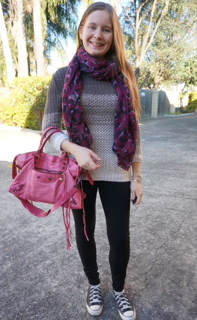 purple leopard print scarf ombre knit black skinny jeans pink balenciaga sorbet city | away from blue