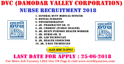 DVC (Damodar Valley Corporation) Nurse Recruitment 2018