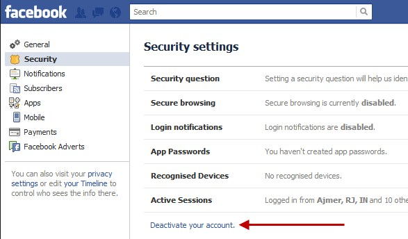 How to deactive my fb account