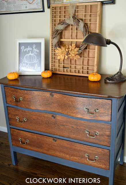 Milk paint makeover for a serpentine dresser featured at Talk of the Town | www.knickoftime.net