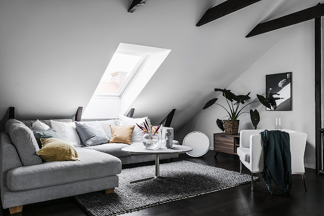 Amazing attic and elegant scandinavian interior