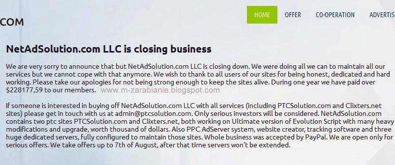 PTCSolution.com i ClixTers.net - programy zakończyły działalność