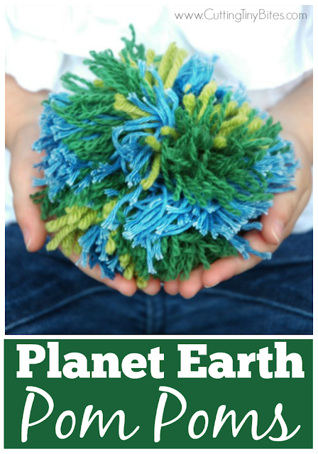 Planet Earth Pom Poms. Quick and easy Earth Day craft for kids. Work those fine motor skills!