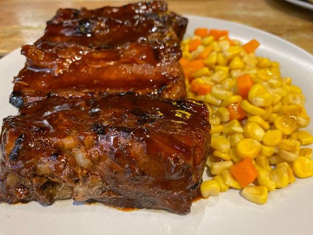 Plate of tender barbecued ribs at Blake's Wings & Steaks