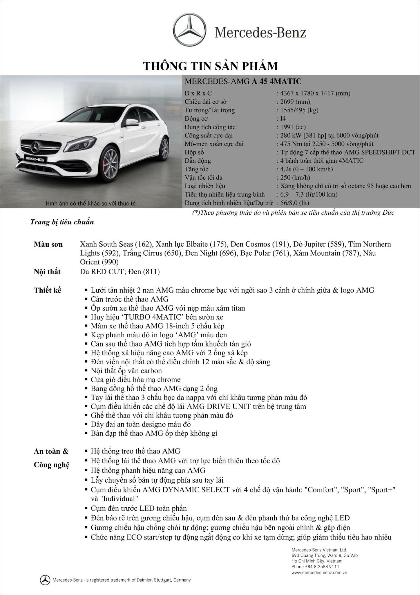 Cập nhật Bảng thông số kỹ thuật Mercedes AMG A45 4MATIC 2019 mới nhất
