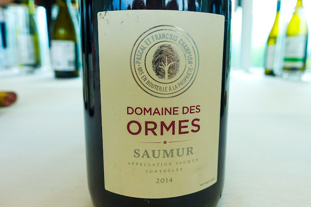 A close up of Saumur wine bottle which has a finger print tree on the label