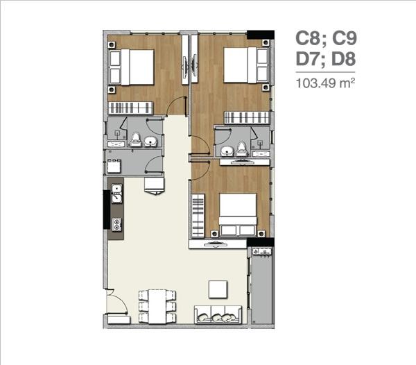 Mặt bằng căn hộ Florita 3 phòng ngủ