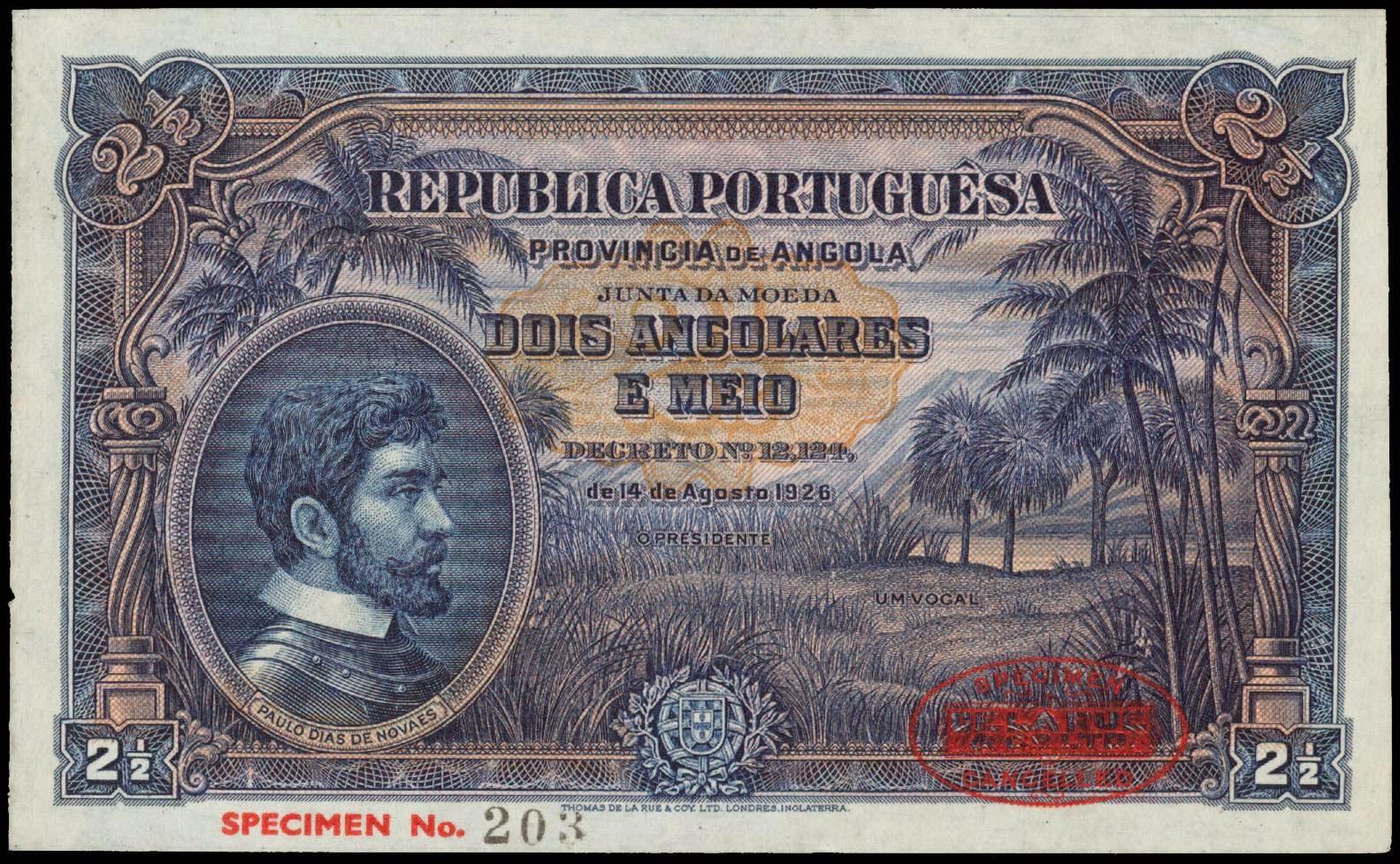 Angola 2 1 2 Angolares Banknote 1926 World Banknotes