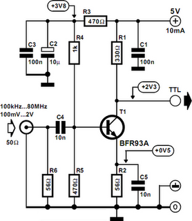 Free Circuit Diagrams: Sine Wave To TTL Converter