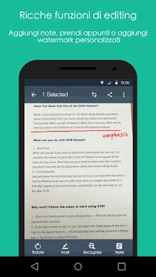 Applicazione per aggiunge note e scannerizzare