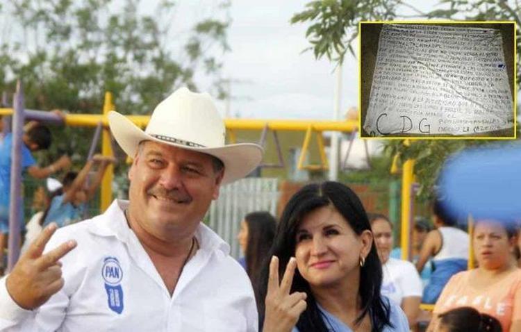 Nuevo León: CDG deja narcomanta amenazando al candidato del PAN por extorsión en Salinas Victoria.