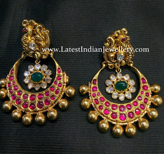 Peacock Nakshi Chandbalis with Rubies
