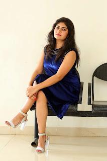 Purvi Takkar in Knee Length Sleeveless Blue Velvet Dress