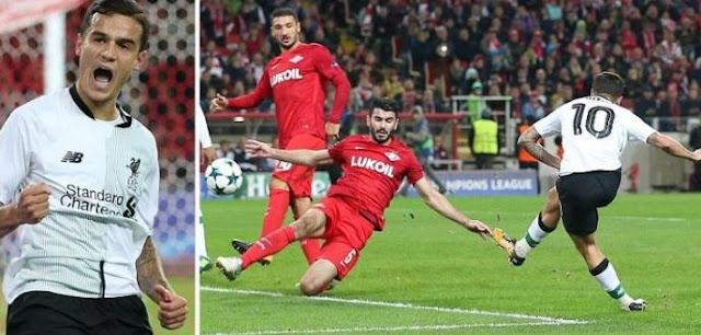 Spartak Moscow 1-1 Liverpool Highlights (Coutinho equalize after Spartak had taken early lead)