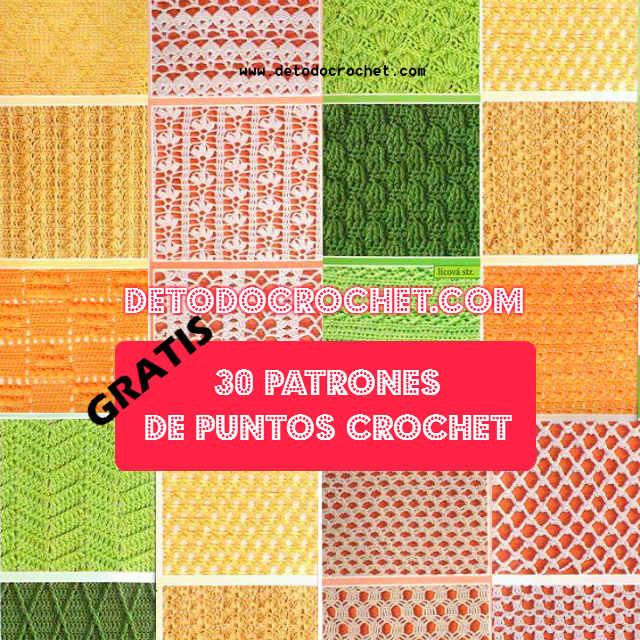 30 esquemas y fotos de muestra de puntos crochet para descargar