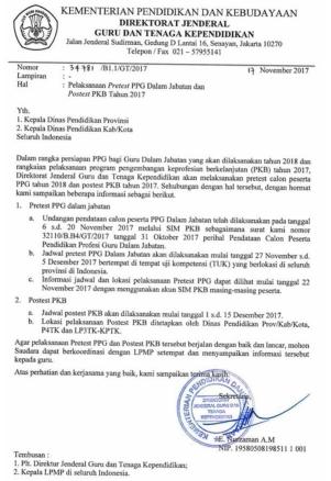 Jadwal Pretest PPG 2018 dan Jadwal Postest PKB 2017