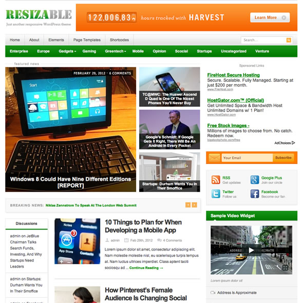 resizable: plantilla wordpress