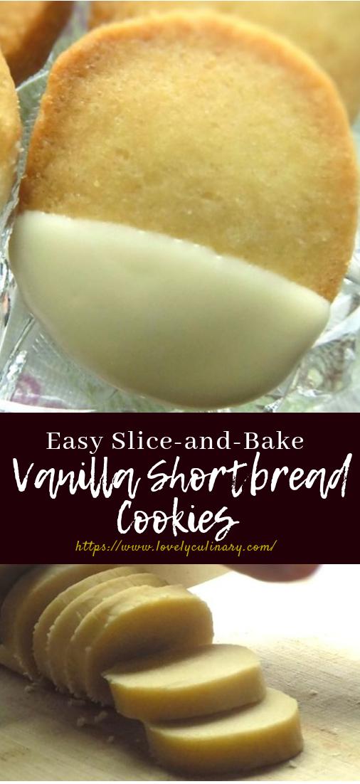 Easy Slice-and-Bake Vanilla Shortbread Cookies #recipeeasy #dessert