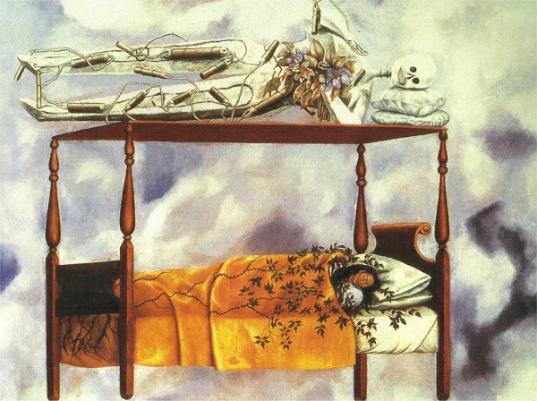 The Dream (The Bed) by Frida Kahlo, Macabre Paintings, Horror Paintings, Freak Art, Freak, Paintings, Horror Picture, Terror Pictures
