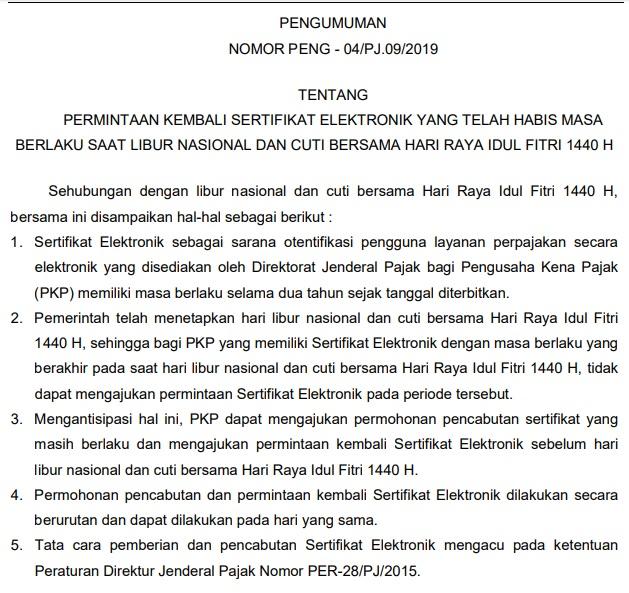 Sertifikat Elektronik Expired Saat Libur Idul Fitri 1440H 2019