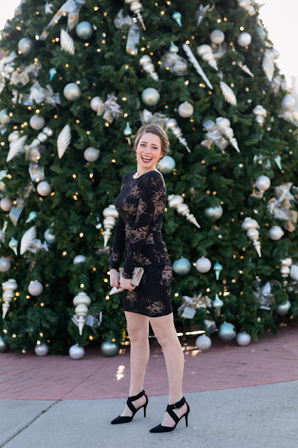 Preppy classy holiday party outfit fashion blogger