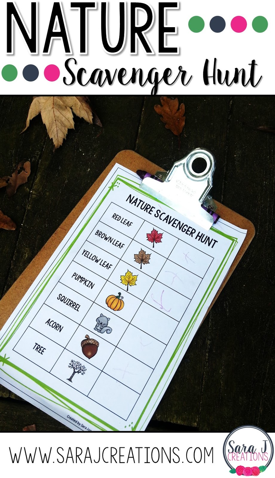 Cute fall nature scavenger hunt for preschoolers.