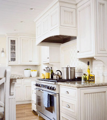 white kitchen with beadboard on cabinets and hardwood floor